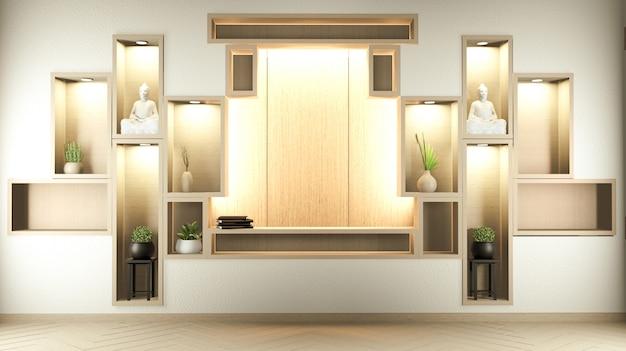 Półka naścienna w stylu zen i drewniany design, kolor ziemi. renderowanie 3d