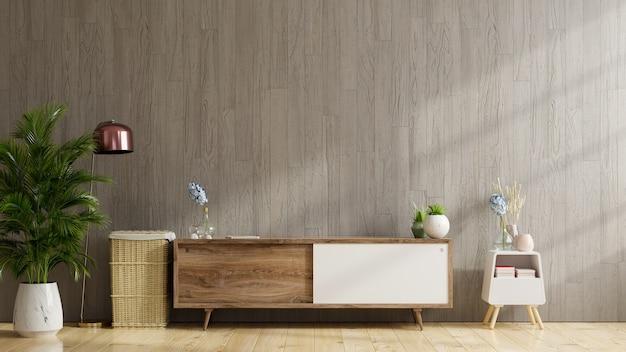 Półka pod telewizor w nowoczesnym pustym pokoju, minimalistyczny design, renderowanie 3d