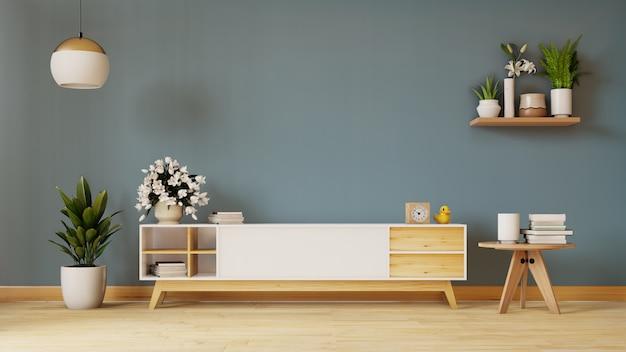 Półka telewizyjna w nowożytnym pustym pokoju, minimalny projekt, 3d rendering