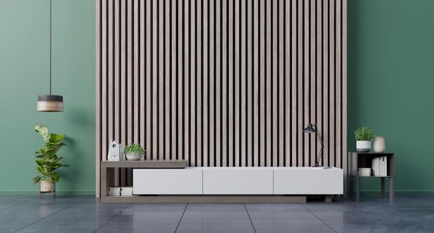 Półka tv w nowoczesnym pustym pokoju, minimalistyczny design.