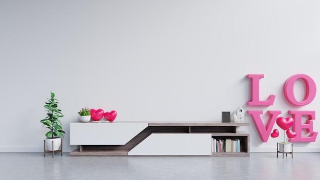 Półka tv w nowoczesnym pustym pokoju, walentynki.