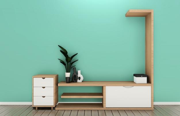 Półka tv w pokoju miętowym nowoczesny styl tropikalny - puste wnętrze pokoju - minimalistyczny design. renderowania 3d