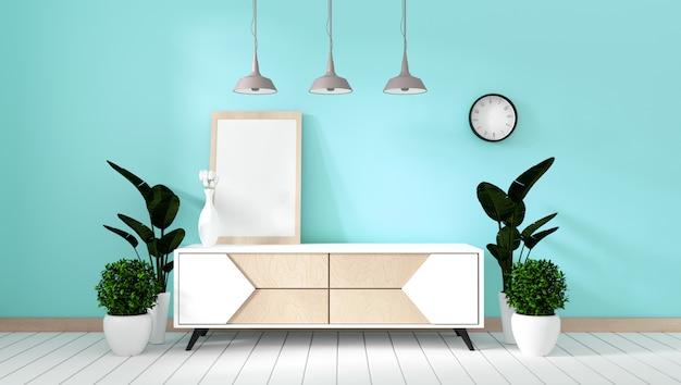 Półka tv w pokoju miętowym nowoczesny styl zen - wnętrze pustego pokoju - minimalistyczny design. 3d rendering