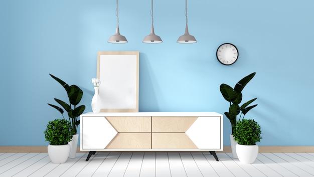Półka tv w pokoju miętowym w nowoczesnym stylu zen