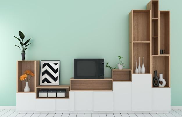 Półka tv w pokoju miętowym w nowoczesnym tropikalnym stylu - wnętrze pustego pokoju - minimalistyczny design. 3d rendering