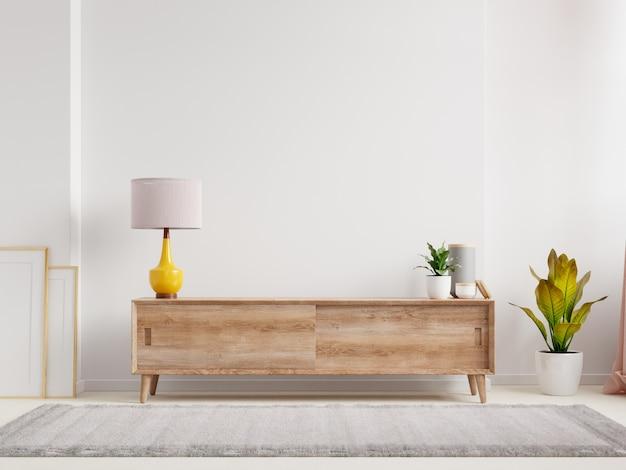 Półka w nowoczesnym pustym pokoju, minimalistyczny design, renderowanie 3d