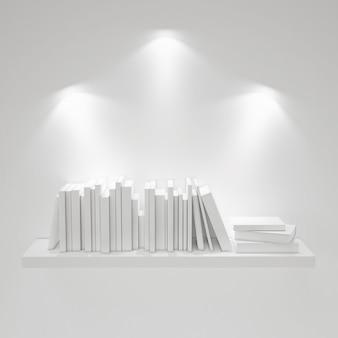 Półka z lampkami na białym tle