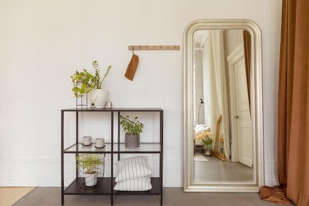 Półki z roślinami doniczkowymi przy lustrze