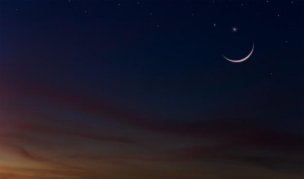 Półksiężyc na tle zmierzchu nieba