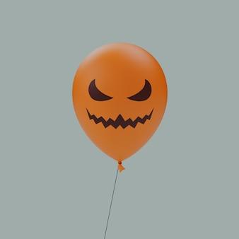 Półksiężyc oczy krzywe usta nawiedzony halloween straszny twarz balon emotikon na białym tle renderowania 3d