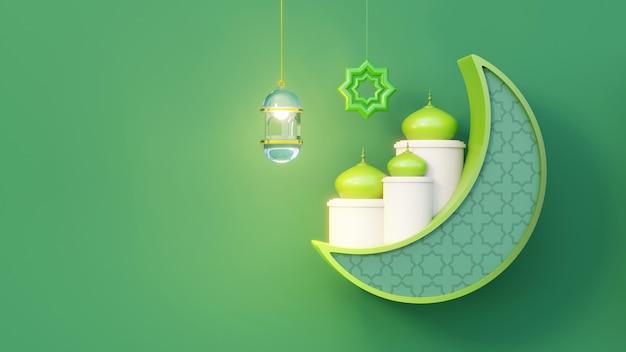 Półksiężyc z islamską latarnią i ozdobami
