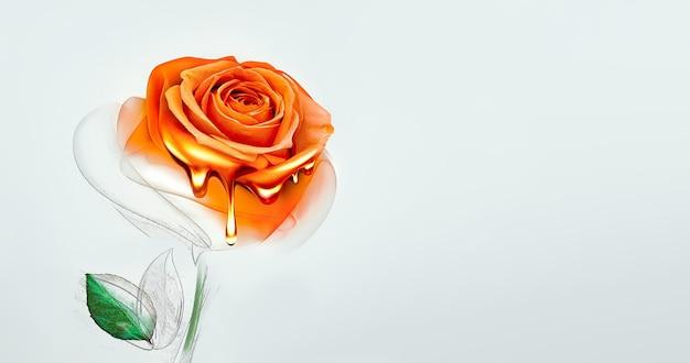 Półmalowana róża z kapiącą farbą na jasnym tle