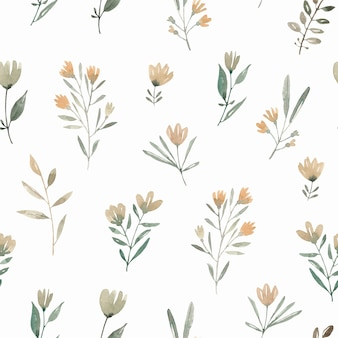Polne kwiaty akwarela bezszwowe wzór z abstrakcyjnych roślin i kwiatów. śliczne tło.