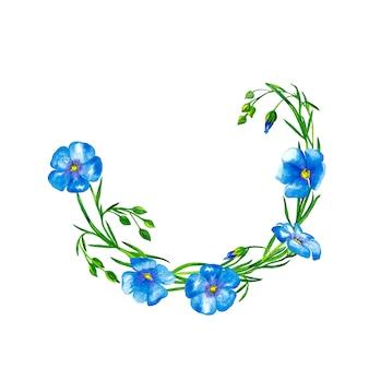 Półokrągła rama z niebieskich kwiatów lnu z łodygami i pąkami. malarstwo akwarelowe.