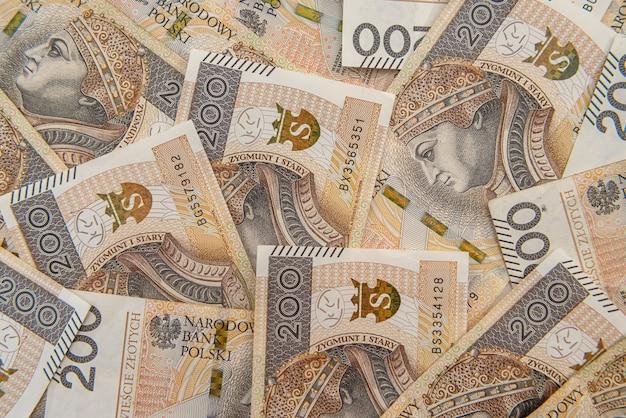 Polska 200 złotych banknotów jako tło. zygmunt i
