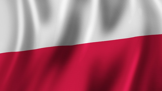 Polska flaga macha zbliżenie renderowanie 3d z wysokiej jakości obrazem z teksturą tkaniny