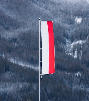 Polska flaga powiewa na wietrze na tle wysokiej góry pokrytej śniegiem