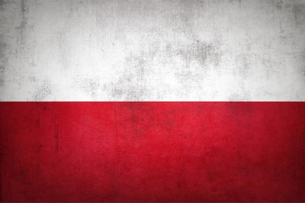 Polska flaga z grunge tekstur.
