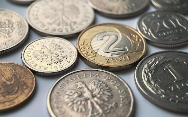 Polskie monety złote na białym tle. bliska fotografia.