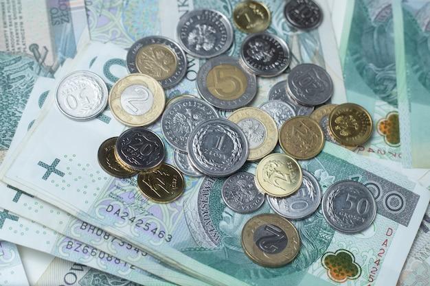 Polskie pieniądze, polski złoty, banknoty i monety