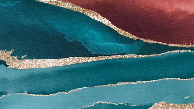 Połyskujące turkusowe i brązowe tło akwareli