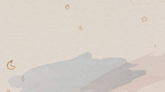 Połyskujące złote gwiazdy i księżyc na tle akwareli