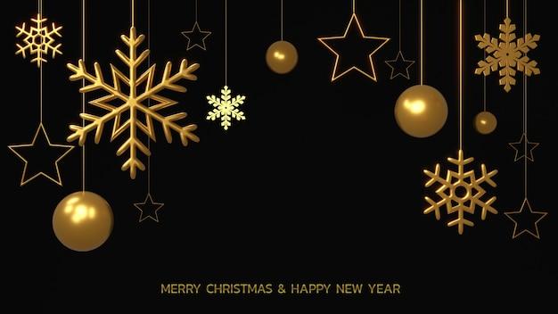 Połyskujące złote płatki śniegu, bombki i gwiazdy na czarnym tle. renderowania 3d świecące wiszące ozdoby cristmas. nowy rok szablon okładki lub transparentu.
