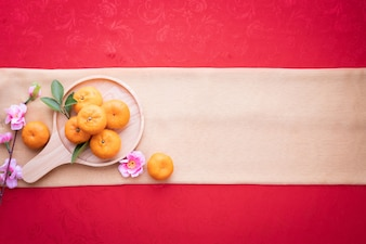 Pomarańczowa owoc, Różowy czereśniowy okwitnięcie z kopii przestrzenią dla teksta na czerwonym tekstury tle.