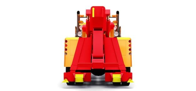 Pomarańczowa ciężarówka holownicza do transportu innych dużych ciężarówek lub różnych ciężkich maszyn. renderowania 3d.