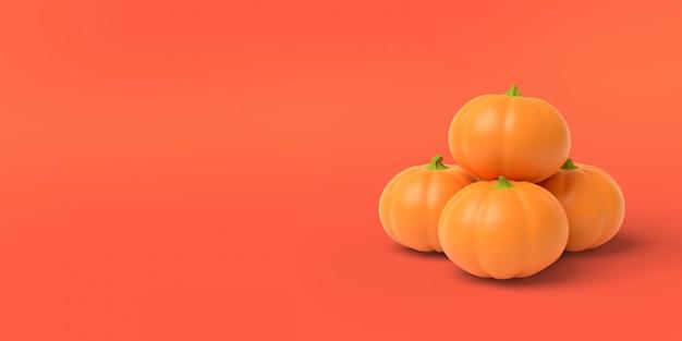 Pomarańczowa dynia na czerwonym, renderowania 3d