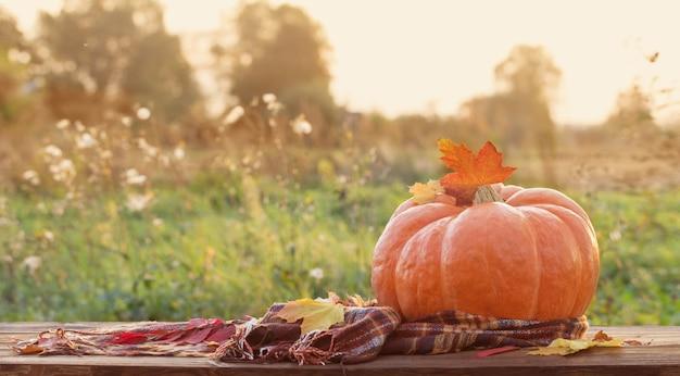 Pomarańczowa dynia z jesiennymi liśćmi na drewnianym stole o zachodzie słońca