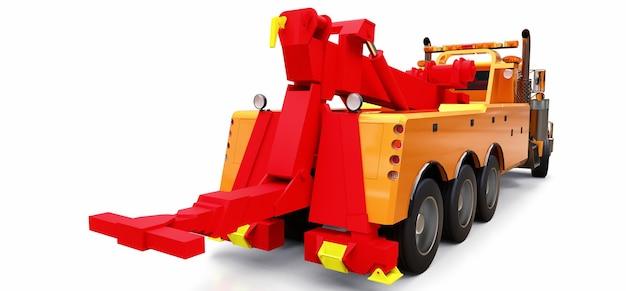 Pomarańczowa laweta do transportu innych dużych ciężarówek lub różnych ciężkich maszyn. renderowanie 3d.