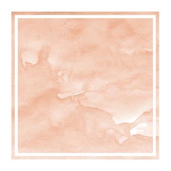 Pomarańczowa ręka rysująca akwareli kwadrata ramy tła tekstura z plamami