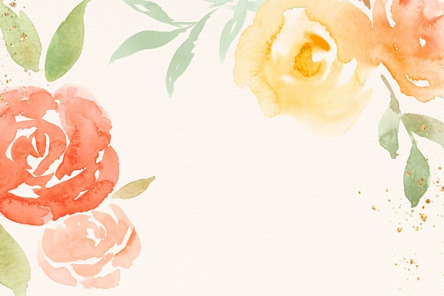 Pomarańczowa Róża Rama Tło Wiosna Akwarela Ilustracja Darmowe Zdjęcia