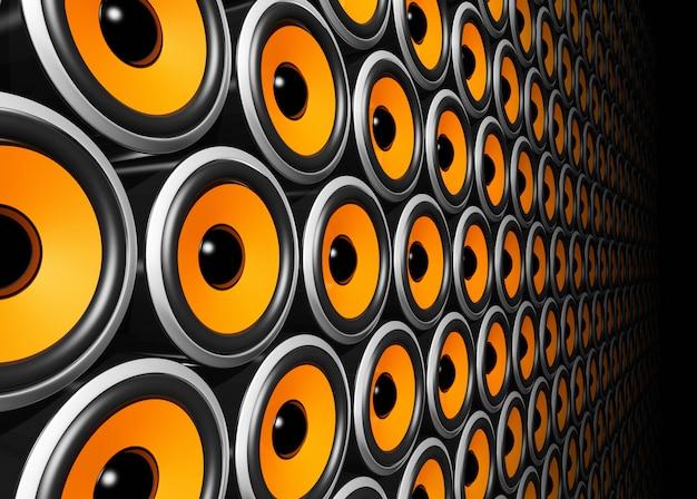 Pomarańczowa ściana głośników