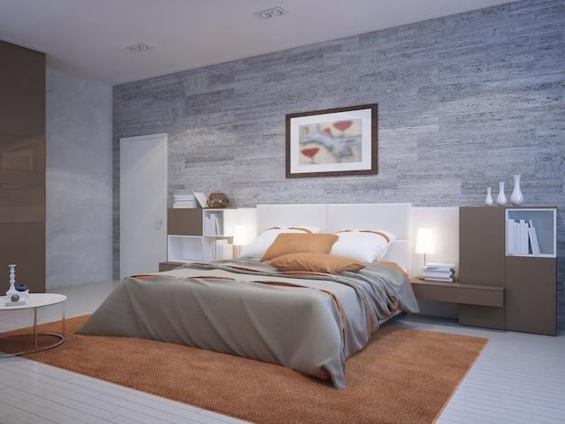 Pomarańczowa sypialnia w stylu art deco