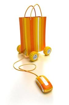 Pomarańczowa torba na zakupy na kółkach podłączona do myszki komputerowej