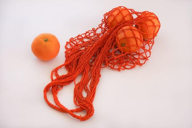 Pomarańczowa torba sznurkowa eco zero waste