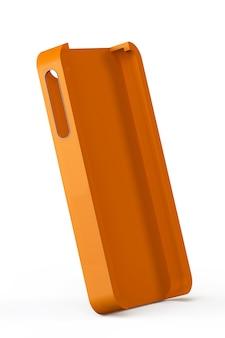Pomarańczowa tylna obudowa smartfona na białym tle