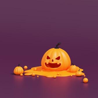 Pomarańczowe dynie halloween topiące się na fioletowym tle, dekoracja świąteczna. renderowanie 3d.