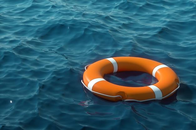 Pomarańczowe koło ratunkowe na wodzie. pojęcie pomocy, ratowania, utonięcia, burzy. skopiuj miejsce ilustracja 3d, rendering 3d.