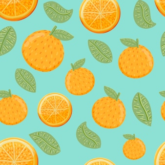 Pomarańczowe owoce i liście bezszwowe tło wzór w stylu wyciągnąć rękę.