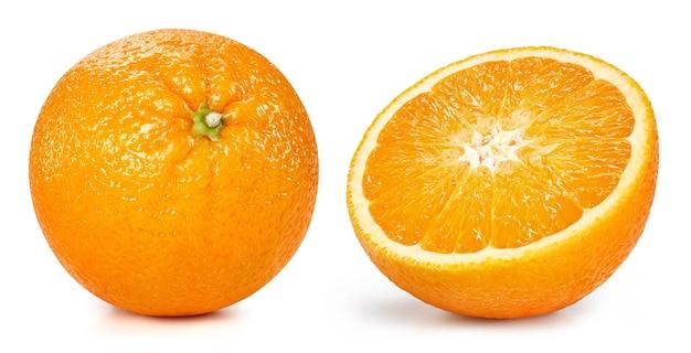 Pomarańczowe owoce na białym tle. pomarańczowa ścieżka przycinająca. kolekcja orange