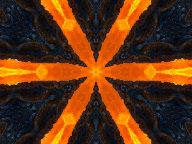 Pomarańczowe promienie gwiazdy na czarnym retro teksturowanym wzorze z lat 70-tych. streszczenie unikalne tło kalejdoskop. kalejdoskop piękny wzór. bezszwowa tekstura kalejdoskopu