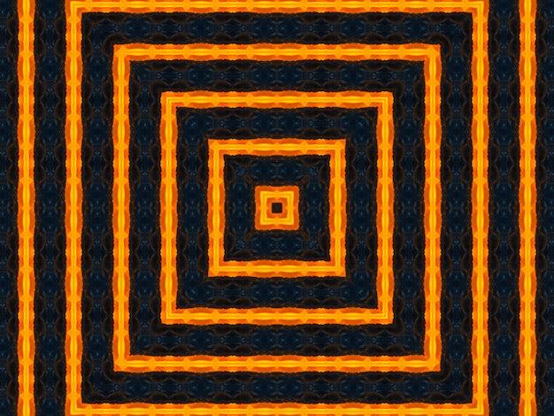 Pomarańczowe promienie gwiazdy na czarnym retro teksturowanym wzorze z lat 70-tych. streszczenie unikalne tło kalejdoskop. kalejdoskop piękny wzór. kalejdoskop bezszwowe tekstury.