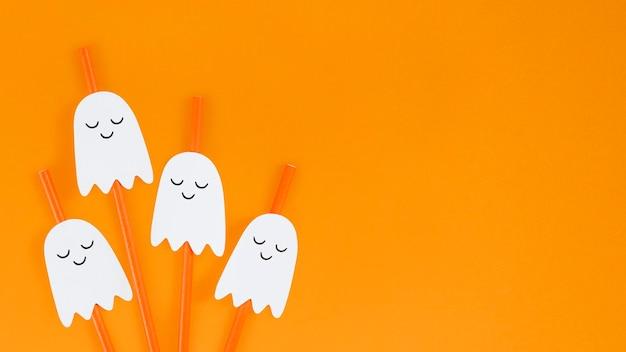 Pomarańczowe słomki duchów halloween zestaw zasobów projektowych