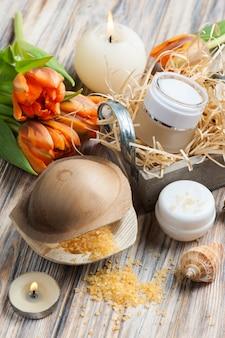 Pomarańczowe sole do kąpieli i kosmetyki