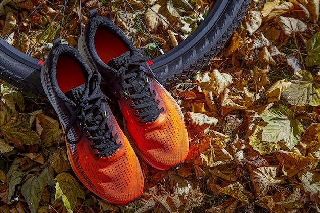 Pomarańczowe trampki i koło rowerowe w słońcu na tle opadłych jesiennych liści. zdrowy tryb życia