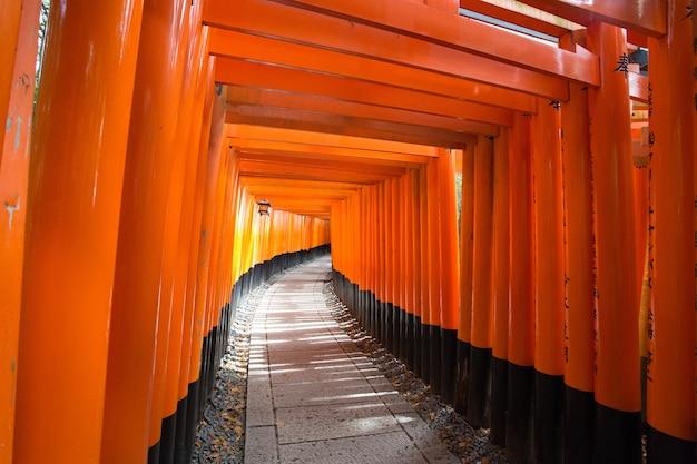 Pomarańczowe wejście do świątyni fushimi inari w kioto w japonii