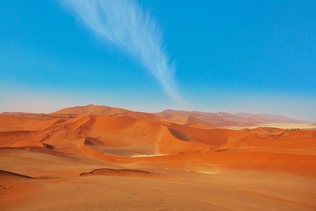 Pomarańczowe wydmy pustyni namib, namibia, afryka